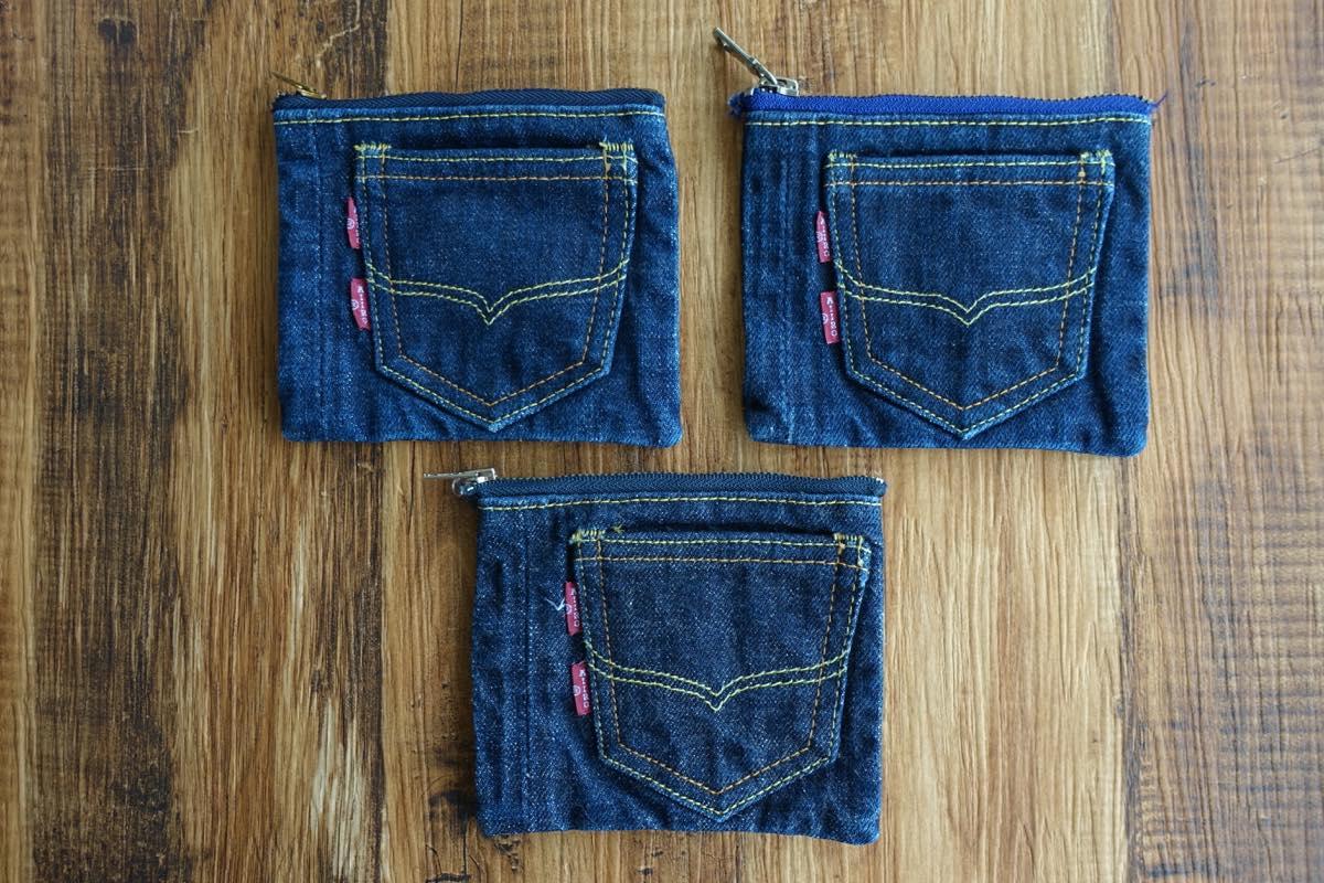 オリジナルジーンズのデニム生地と【デニム色落ちテスト小物ケース】