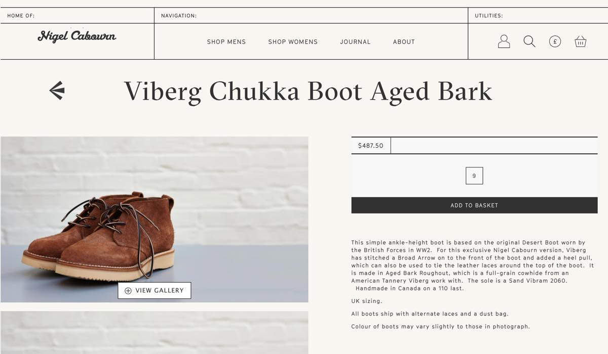ナイジェルケーボン Viberg Chukka Boot